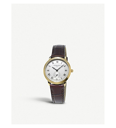 FREDERIQUE CONSTANT FC-235M1S5 yellow gold-plated and leather watch (White