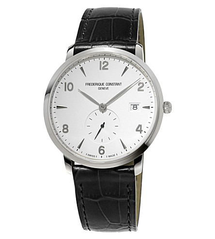 FREDERIQUE CONSTANT FC245SA5S6 slimline stainless steel and leather watch