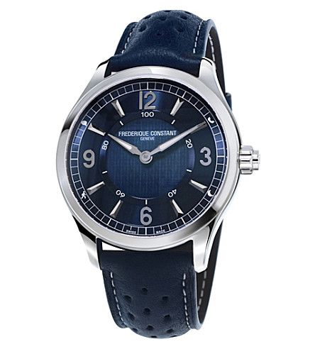 FREDERIQUE CONSTANT 282AN5B6 Horological quartz stainless steel and leather strap watch