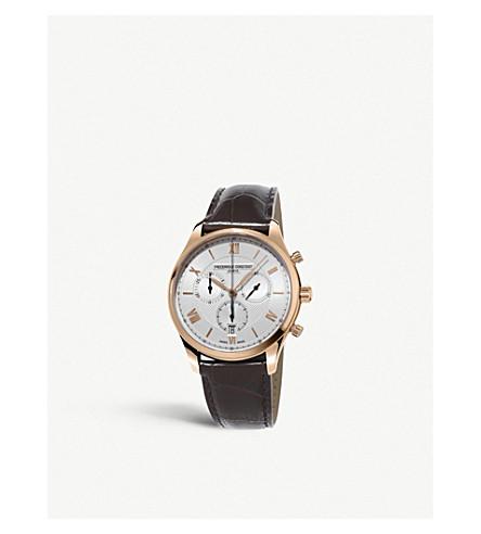FREDERIQUE CONSTANT FC-292MV5B4 经典计时石英玫瑰镀金不锈钢皮表带腕表