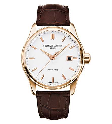 FREDERIQUE CONSTANT FC-303V5B4 Index Slim rose gold-plated and leather watch (White