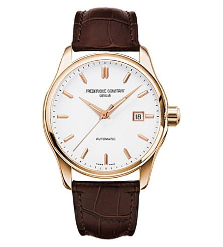 FREDERIQUE CONSTANT FC-303V5B4 指数薄玫瑰镀金和皮革手表 (白色