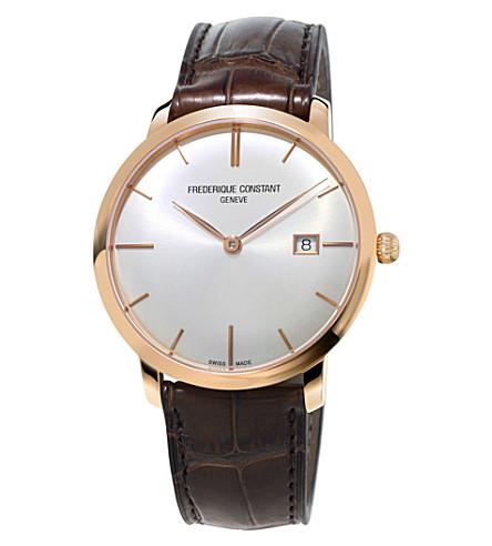 FREDERIQUE CONSTANT FC-306V4S4 薄镀金不锈钢和皮革手表