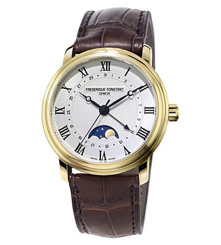 FREDERIQUE CONSTANT FC-330MC4P5 月相镀金不锈钢和皮革手表
