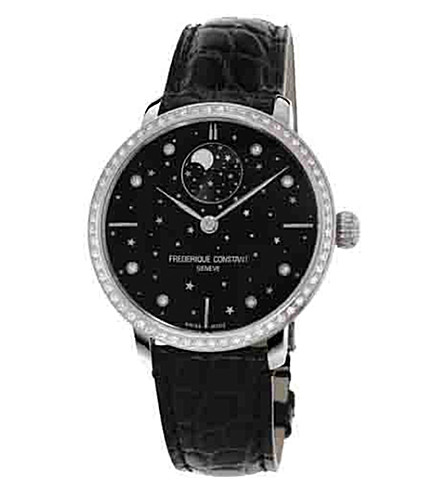 FREDERIQUE CONSTANT FC-701BSD3SD6 Slimline Moonphase stainless steel diamond and leather watch