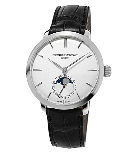 FREDERIQUE CONSTANT FC-703S3S6 Manufacture slimline moonphase stainless steel watch (White