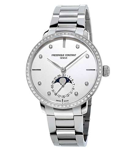 FREDERIQUE CONSTANT FC-703SD3SD6B Manufacture Slimline Moonphase stainless steel watch (White