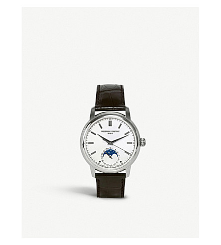 FREDERIQUE CONSTANT FC715S4H6 Moonphase sterling silver and leather watch (White