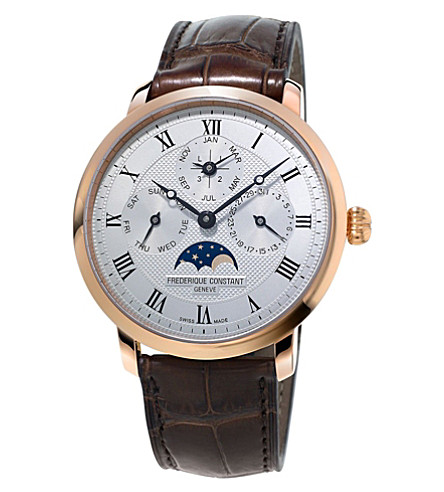 FREDERIQUE CONSTANT FC-775MC4S4 Slimline Perpetual Calendar rose gold-plated and leather watch