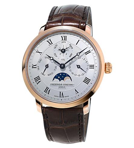 FREDERIQUE CONSTANT FC-775MC4S4 细线永久日历玫瑰镀金和皮革手表