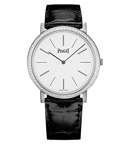 PIAGET Altiplano 18k white gold, diamond and alligator watch