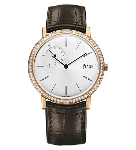 PIAGET Altiplano 18k rose-gold, diamond and alligator watch