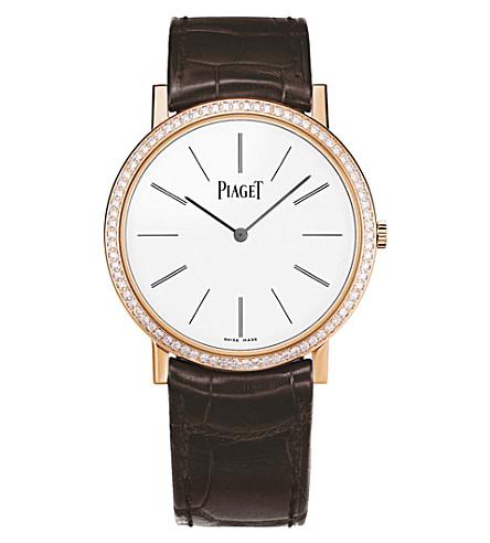 PIAGET Altiplano 18k rose-gold, diamond and alligator watch