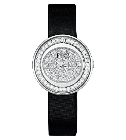 PIAGET Possession 18k white-gold, diamond and satin watch