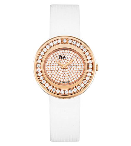 PIAGET G0A37189 Possession 18 carat rose gold and pave diamond satin strap quartz watch