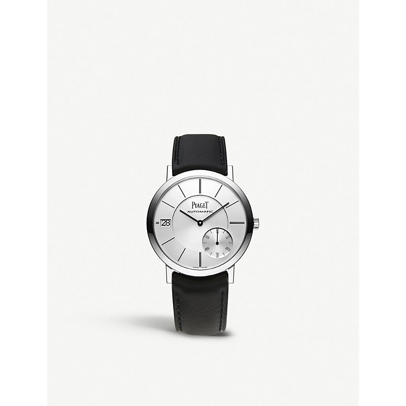 PIAGET | G0A38130 Altiplano 18 Carat White Gold Alligator Strap Automatic Watch | Goxip