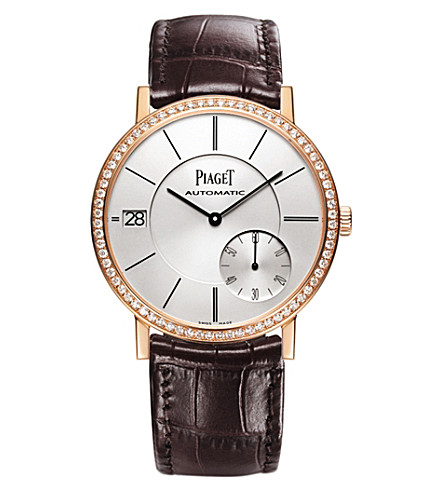 PIAGET G0A38139 Altiplano 18 carat rose gold and diamond automatic alligator strap watch