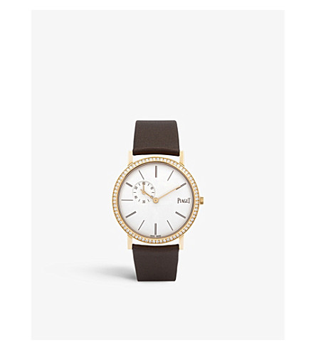 PIAGET Altiplano 18ct pink gold, diamond and alligator leather watch