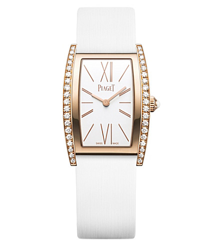PIAGET G0A39188 Limelight 18ct pink-gold, diamond and satin watch