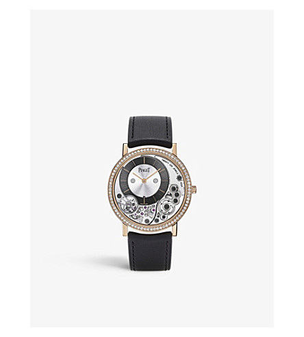 PIAGET G0A40013 Altiplano 18ct pink-gold, diamond and alligator-leather watch