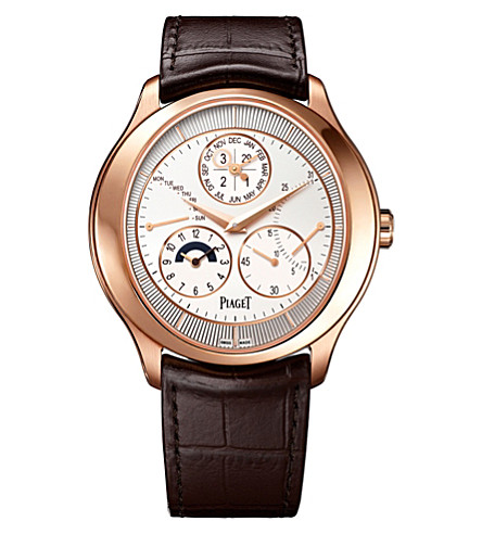 PIAGET G0A40018 Gouverneur 18ct pink-gold and alligator-leather watch