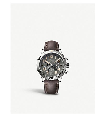 BREGUET G3817STX23ZU Type XX stainless steel and leather strap watch