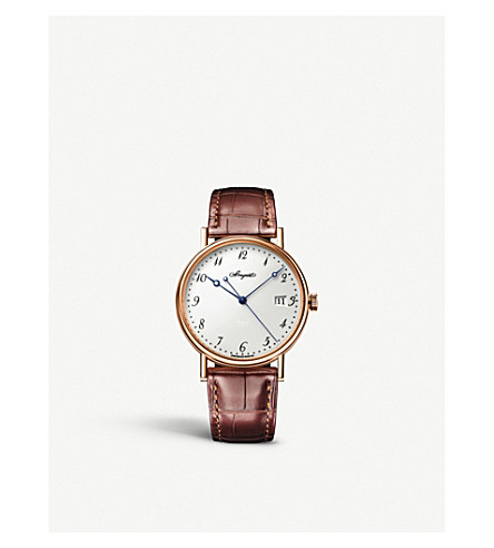 BREGUET 5177BR/29/9V6 Classique 18ct rose-gold and alligator-leather watch