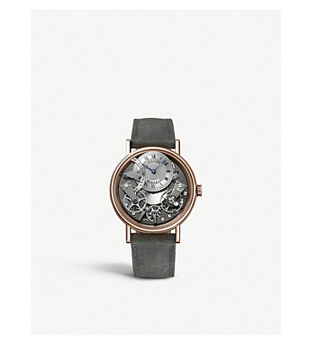 BREGUET G7097BRG19WU Tradition 18ct rose-gold and leather watch