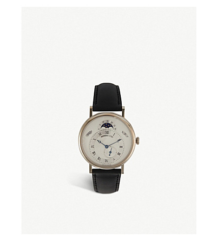 BREGUET G7147BR129WU Classique 18ct white-gold and leather watch