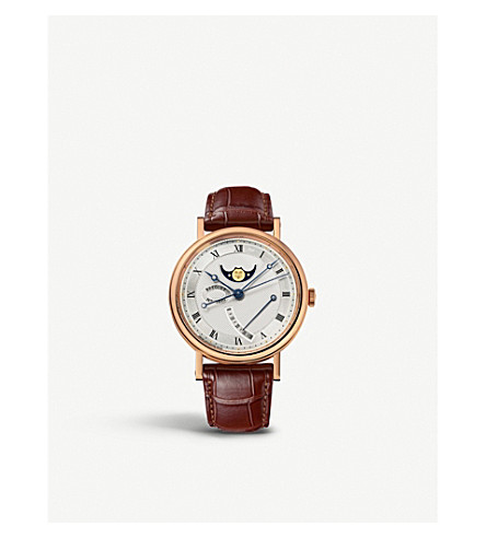 BREGUET G7787BR129V6 Classique 18ct rose-gold and leather watch