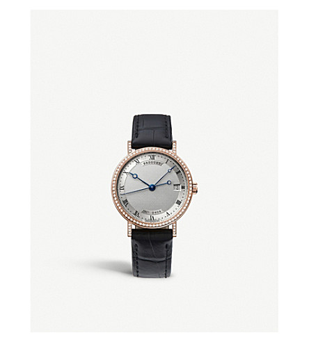 BREGUET G9068BR12976DD00 Classique 18ct rose-gold, diamond and alligator-leather watch