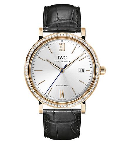 IWC IW356515 Portofino stainless steel automatic leather strap watch