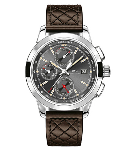 IWC IW380702 Ingenieur stainless steel and leather chronograph watch