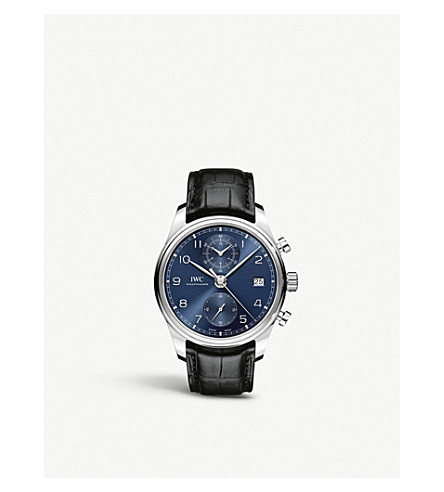 IWC SCHAFFHAUSEN IW390303 Portugieser Chronograph Classic stainless steel and leather chronograph watch