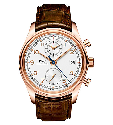IWC IW390402 Portugieser rose-gold and alligator-leather watch