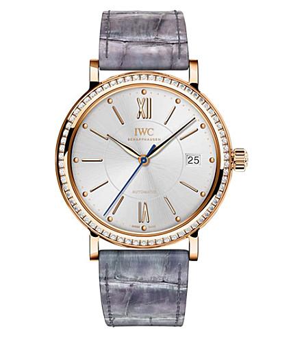 IWC SCHAFFHAUSEN IW458107 Portofino alligator-leather, rose-gold and diamond watch