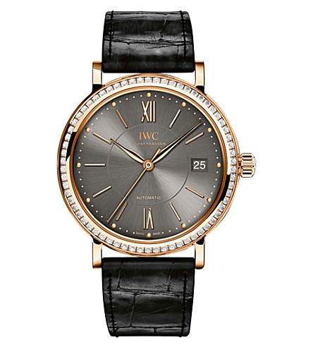 IWC SCHAFFHAUSEN IW458108 Portofino alligator-leather, rose-gold and diamond watch