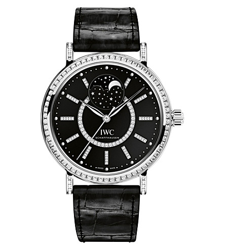 IWC SCHAFFHAUSEN IW459004 Portofino alligator-leather and diamond watch