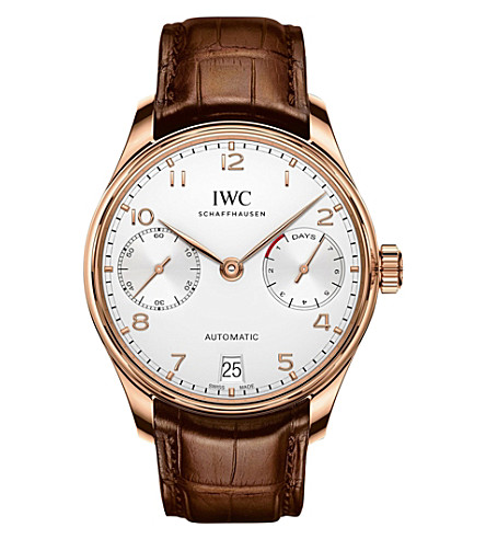 IWC IW500701 Portugieser alligator-leather and rose-gold watch