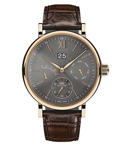 IWC SCHAFFHAUSEN IW516203 Portofino automatic 18K rose gold alligator leather strap watch