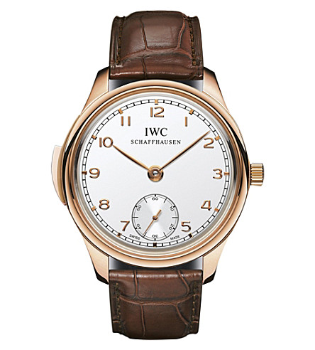 IWC SCHAFFHAUSEN IW544907 Portugieser Minute Repeater 18ct rose-gold and leather watch