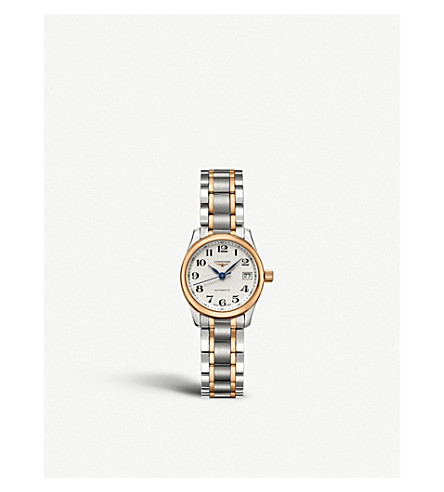 LONGINES L2.128.5.79.7 Master stainless steel and rose gold-toned watch (Silver