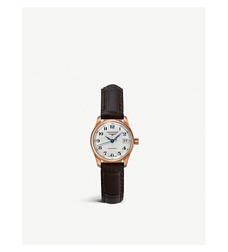 LONGINES L2.257.8.78.3 Master collection rose gold-plated stainless steel and leather watch