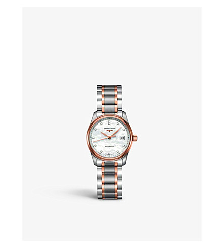 LONGINES L2.257.5.89.7 Master stainless steel, rose gold and mother-of-pearl watch (Mother+of+pearl