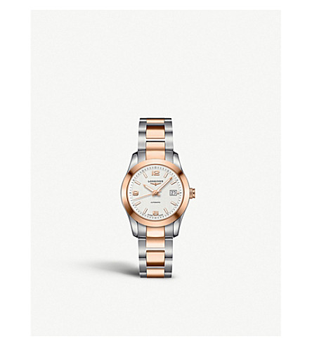 LONGINES Conquest stainless steel and rose gold-plated watch