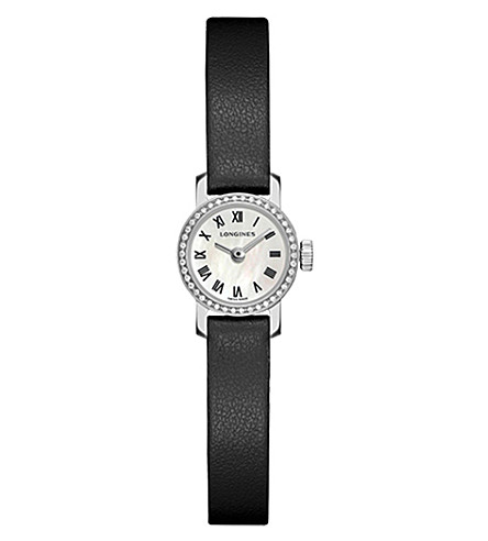 LONGINES L2.303.0.81.2 Mini Collection diamond, stainless steel and leather watch
