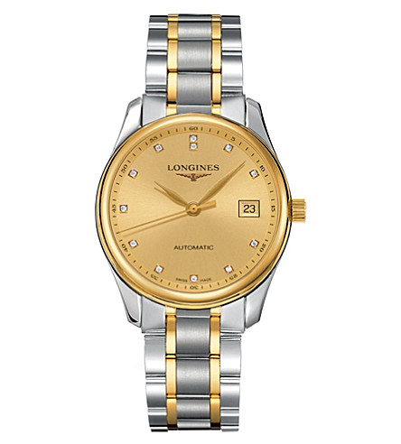 LONGINES L2.518.5.37.7 Master yellow-gold, steel and diamond watch