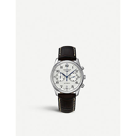 LONGINES L26294783 croc-embossed master watch (Steel