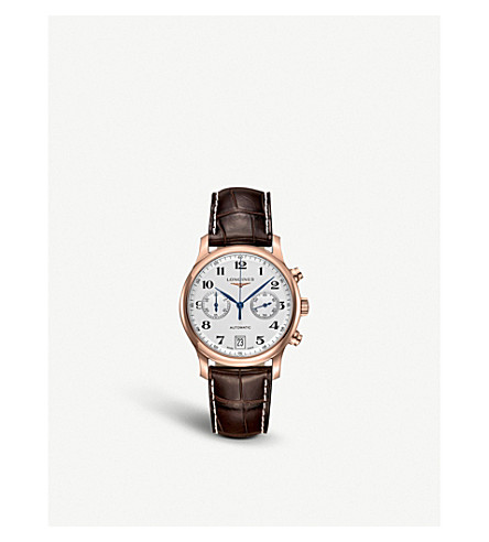 LONGINES L26698783 Master Collection rose-gold and leather automatic watch