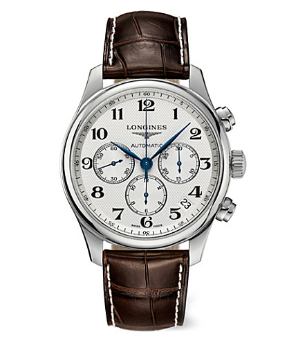 LONGINES L28594785 Master stainless steel and leather chronograph watch (Steel